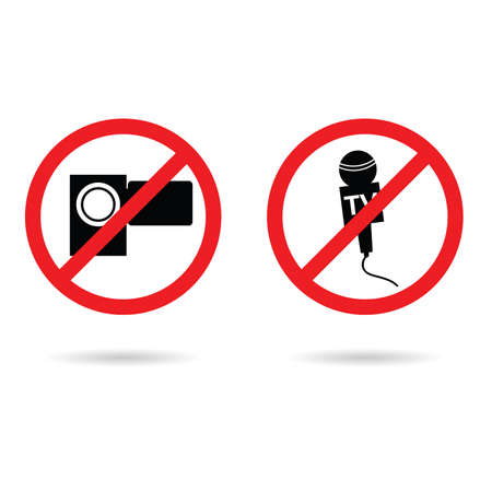 camera and microphone tv sign set illustration in colorful Illustration