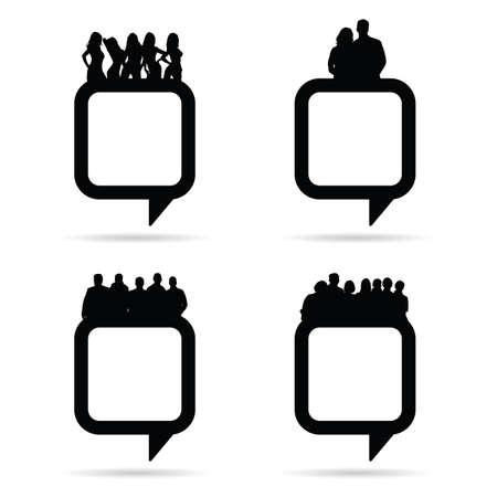 black people: people silhouette on speech bubble illustration in black