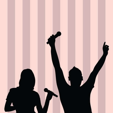 singing silhouette: couple singing silhouette music illustration on colorful background Illustration
