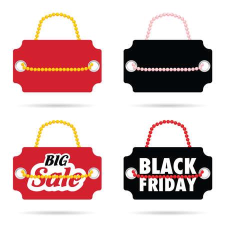 tag of balck friday and big sale on it color set illustration Illustration