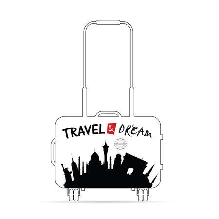 voyager: travel bag with paradise historic monument on it illustration Illustration