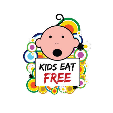 banner with baby and kids eat free on it illustration in colorful