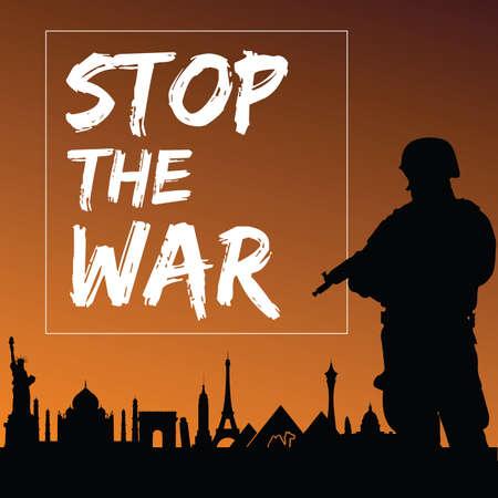 man of war: stop the war with man silhouette design illustration Illustration