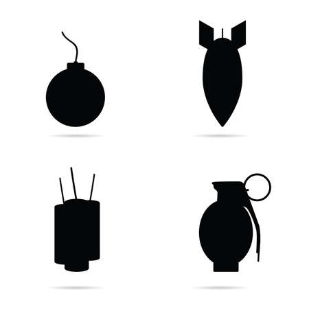 bomb set icon in black color art illustration
