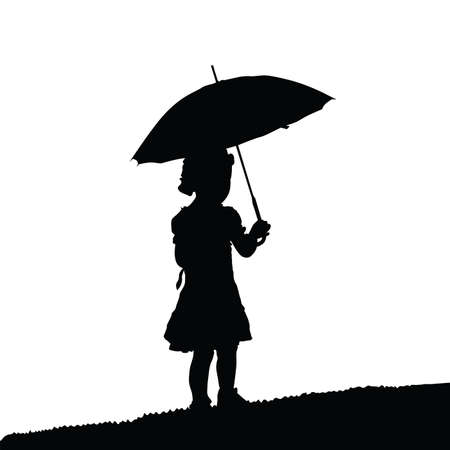 umbrela: child silhouette black with umbrela in nature design illustration on white Illustration