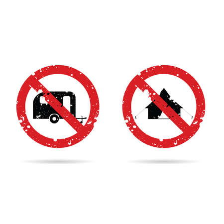 no camping sign in red color illustration on white