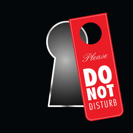 do not disturb on keyhole in red color illustration on black
