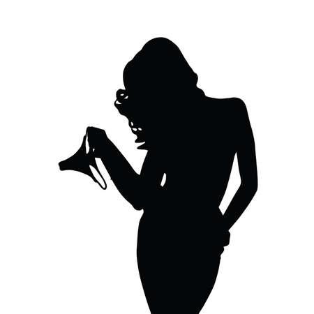 glamour girl: girl sensual silhouette with underwear art illustration in black Illustration