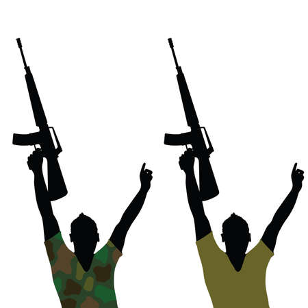 firing: Man with rifle silhouette vector illustration green shirt
