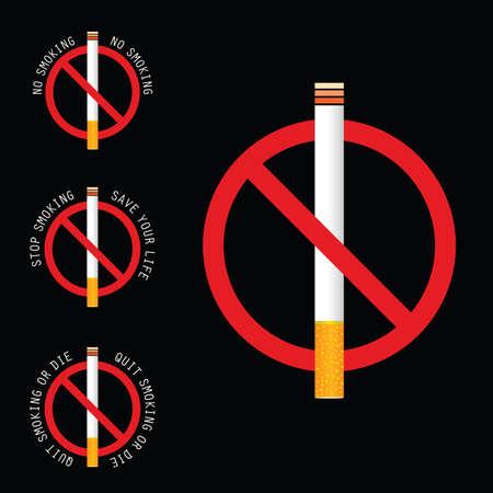 Stop smoking sign illustration art on black background