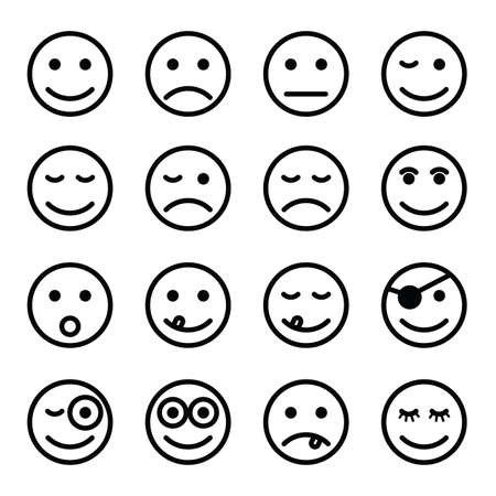 smiley faces in black and white color set art illustration royalty