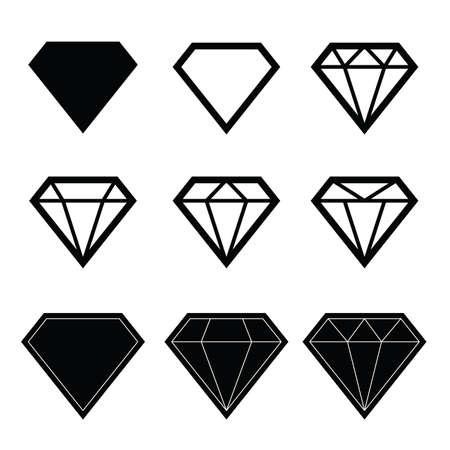 diamond stones: diamond set in black color illustration on white background