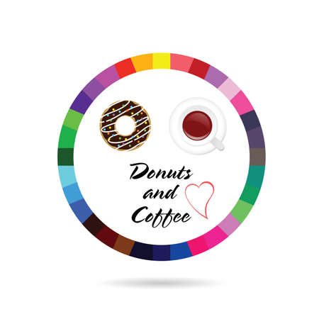 donuts and coffee icon illustration in colorful