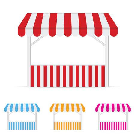 vitrine: Street stall market illustration set one in colorful