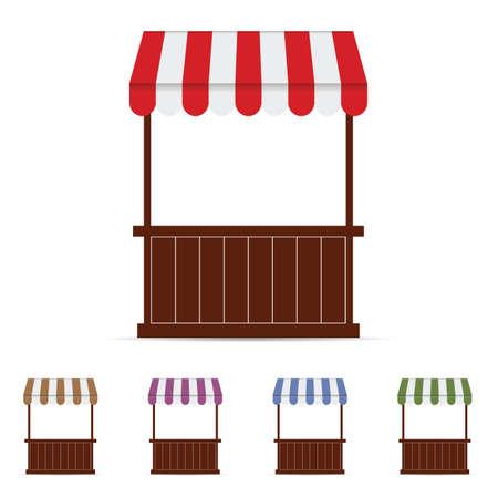 vitrine: Street stall market illustration set three in colorful