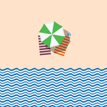 beach with green umbrella and towel illustration in colorful