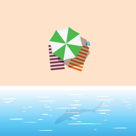beach with green umbrella and shark illustration in colorful Illustration