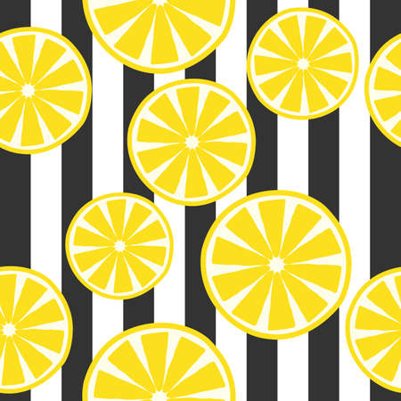 seamless pattern of yellow lemon with line background illustration in colorful