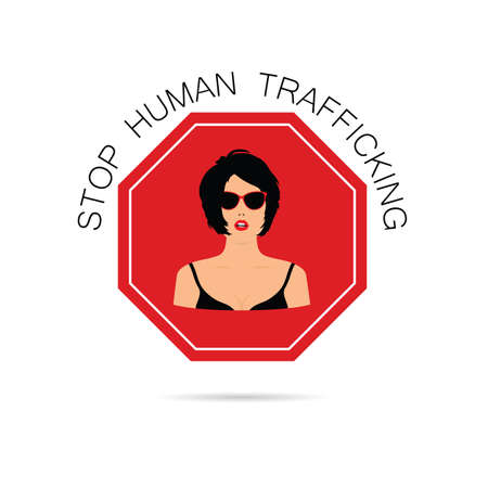stop human traffickung with women illustration vector