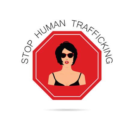 Stoppen menschlichen traffickung mit frauen illustration vektor Standard-Bild - 85308714