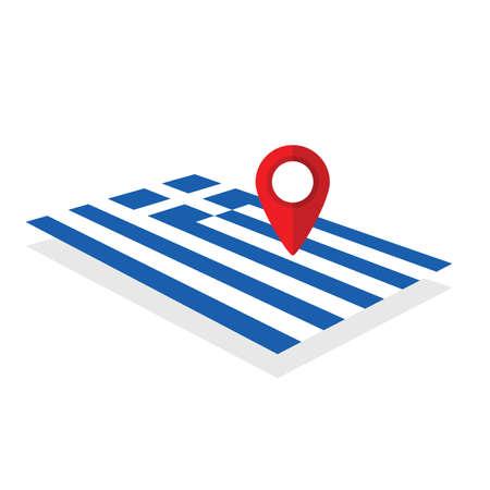 Greece flag with pointer art illustration Illustration