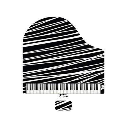 grand piano icon with white line illustration