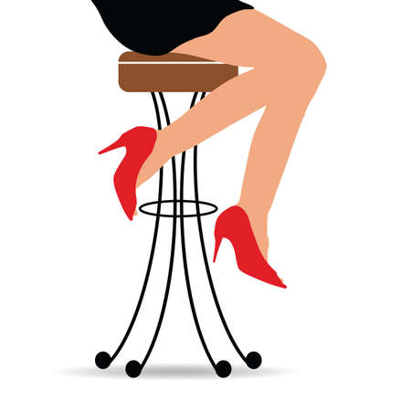 Girl sitting on bar stools.