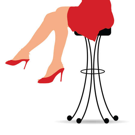 Girl sitting on bar stools furniture. Illustration