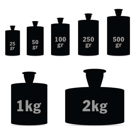Black silhouette of weights for scales set vector on white background Stock Vector - 91508223