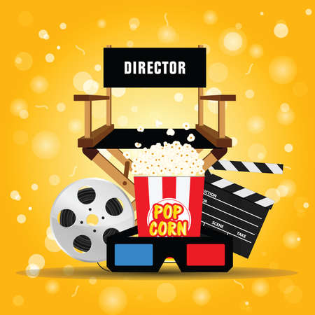 movie background with directors chair and popcorn  icon art illustration Illustration