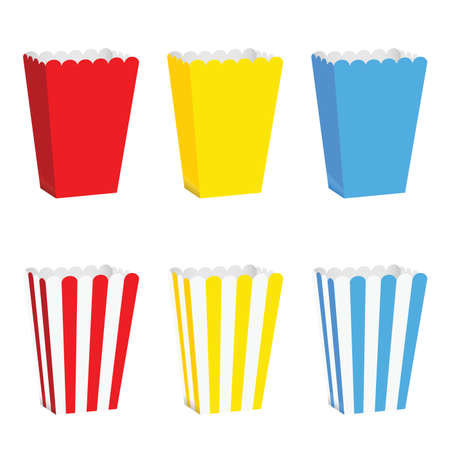 box for popcorn set illustration in colorful Illustration