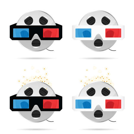 film tape roll with 3d movie glasses set illustration in colorful Illustration