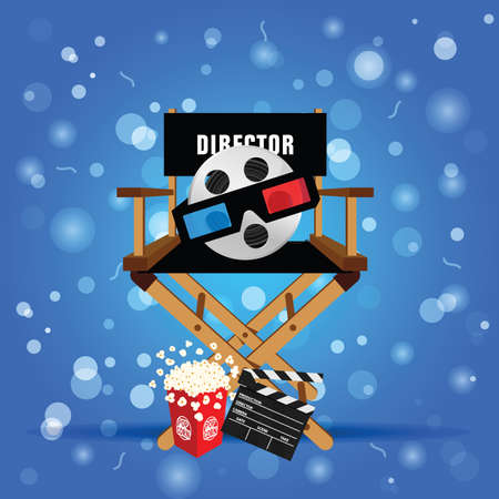movie sign with icon set  entertainment illustration art on blue background