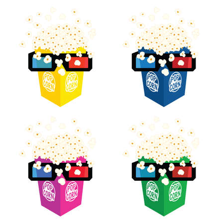 popcorn fresh with 3d movie glasses illustration in colorful