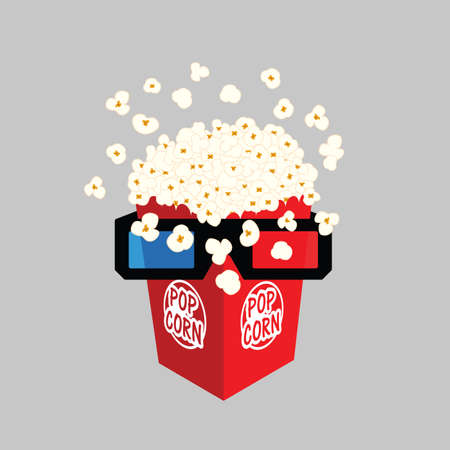 popcorn with 3d movie glasses illustration in colorful