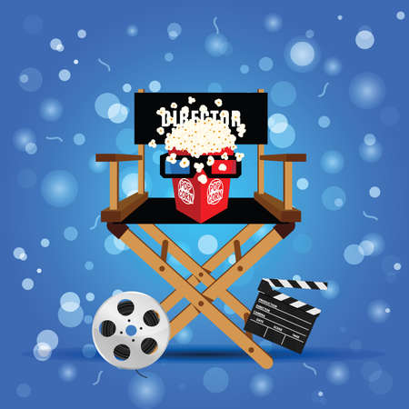 movie sign with icon set  entertainment illustration in colorful