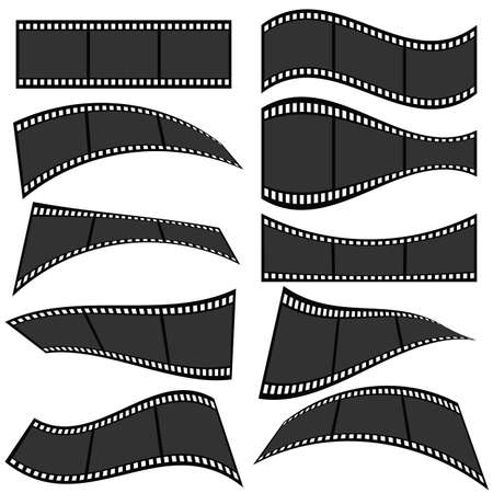 Film strip roll set one vector illustration on white
