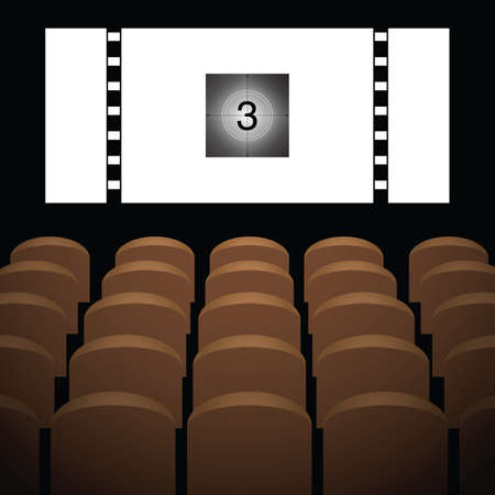 cinema movie theatre vector illustration with brown chairs Çizim