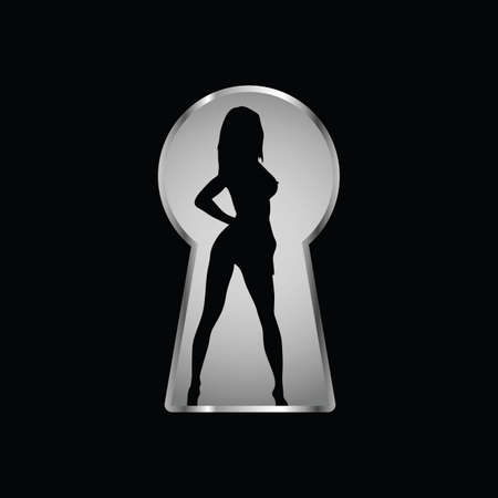 Keyhole and a look at the girl through it one 일러스트