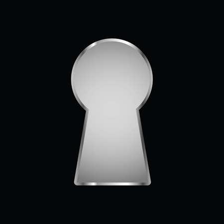 Keyhole on black background vector art illustration