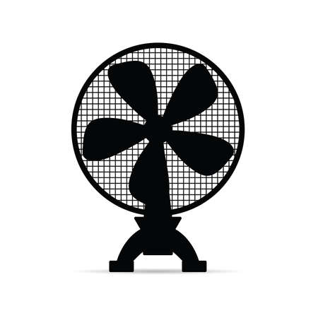 electric fan illustration in black color isolated on white background.