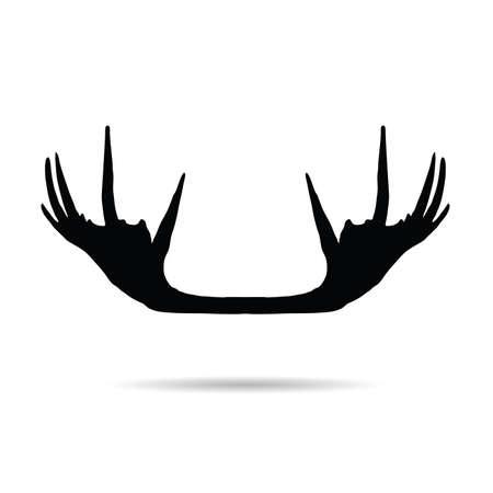 moose horn vector silhouette on white background