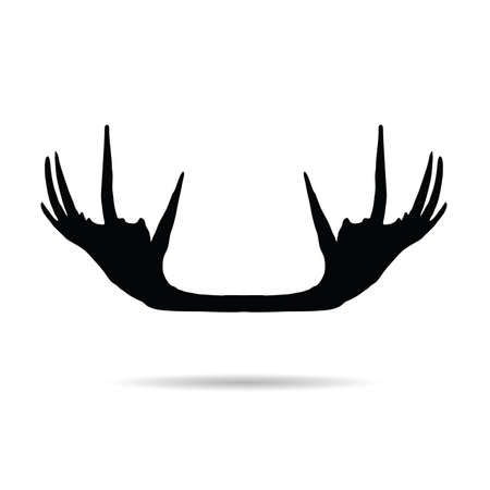 moose horn vector silhouette on white background