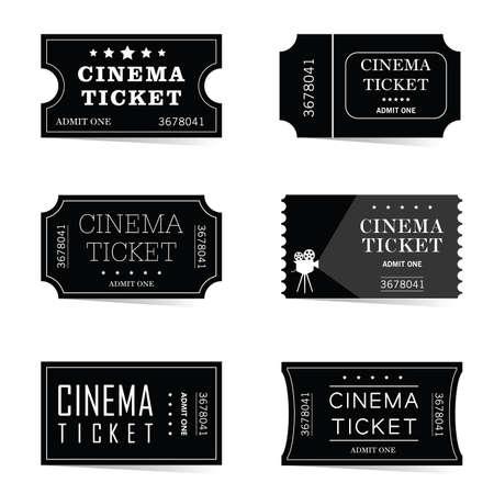 Black old cinema tickets set, vector illustration isolated on white background.