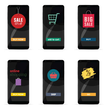 Smartphone with sale and shopping symbol illustration.