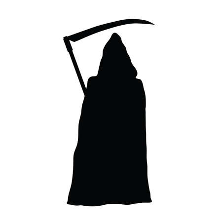 Grim reaper holding scythe black silhouette on white background.