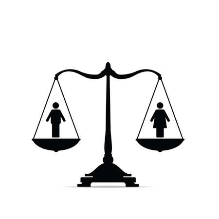 Scales with equality icon art illustration with scales