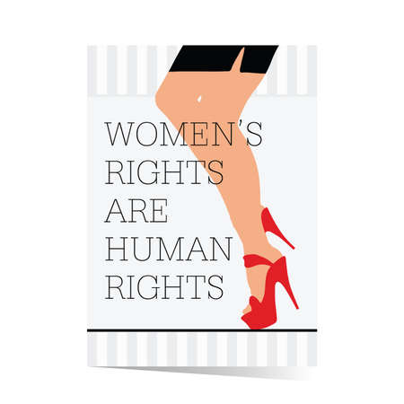 Poster of woman rights with legs illustration in colorful