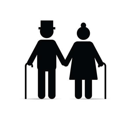 icono de pareja de ancianos tomados de la mano y con palos