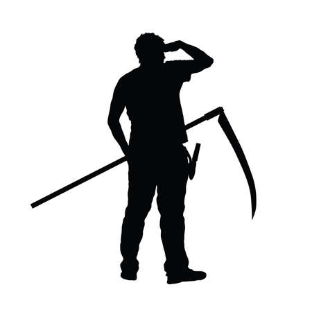 man with scythe in hand silhouette on white. Vector illustration.